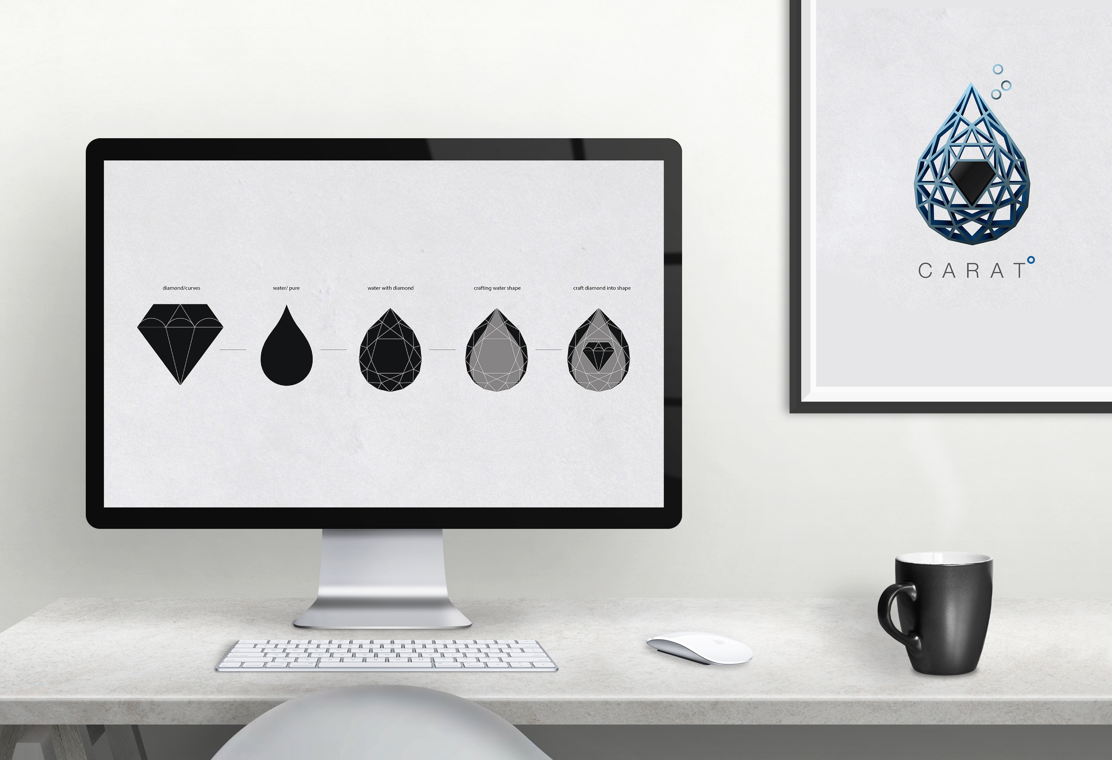 Isolated computer display for mockup in office interior. Work de